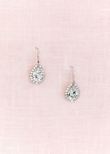 classic Swarovski crystal drop bridal earrings on crystal french wire.