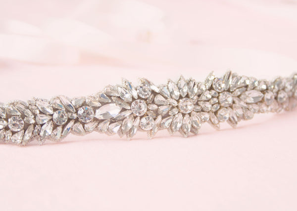 closeup of the halle crystal sash by bhldn