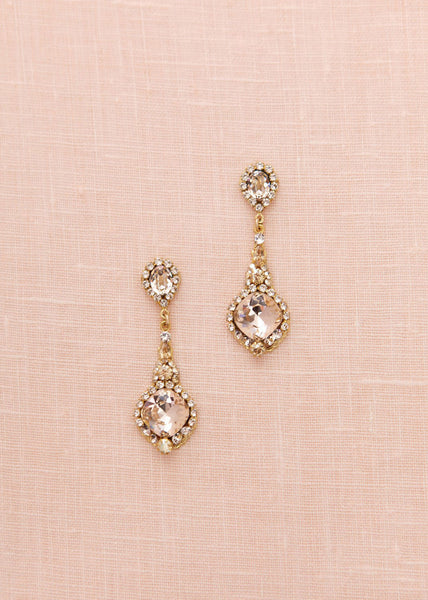 Vintage Crystal Drop II Earrings (Golden Shadow)