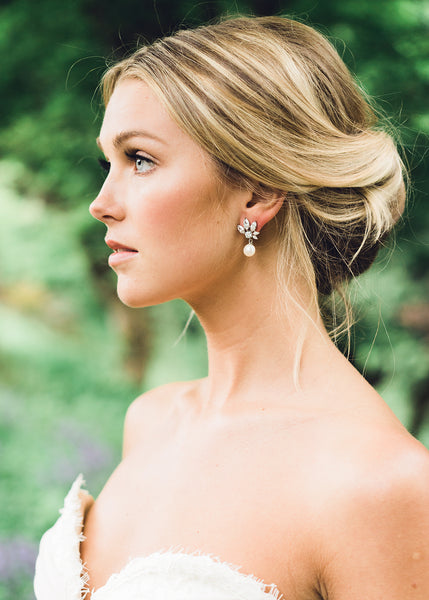 Marquise Cluster Pearl Drop Earrings