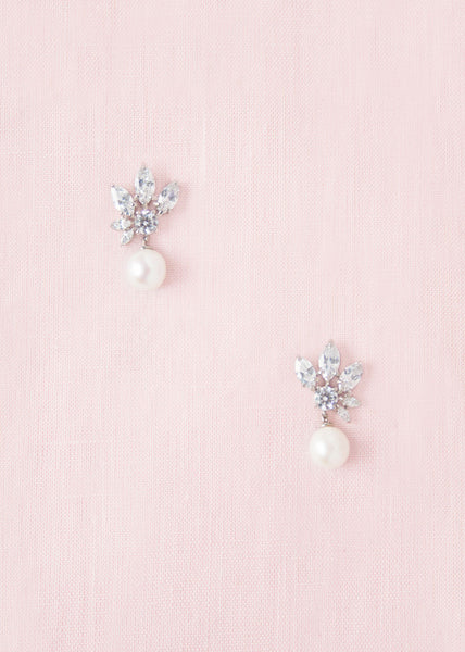 small pearl and crystal bridal earrings