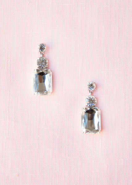 drop earrings with a dramatic square baguette and round crystals