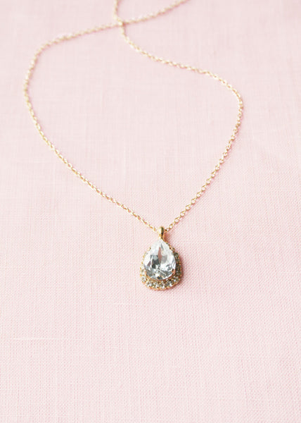 classic teardrop bridal necklace gold and crystal