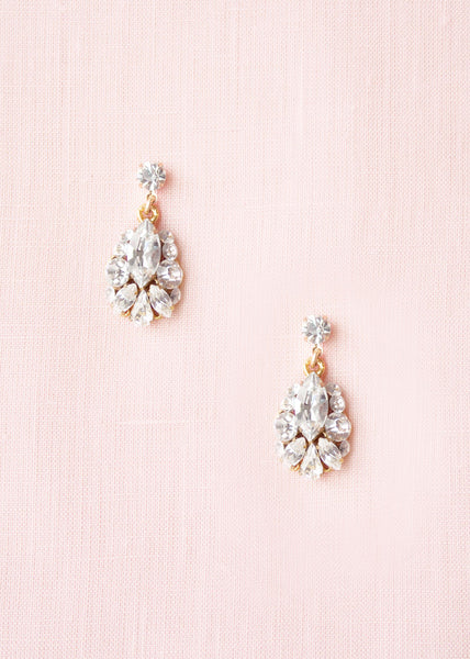 Petite Crystal Drop Earrings (Gold)