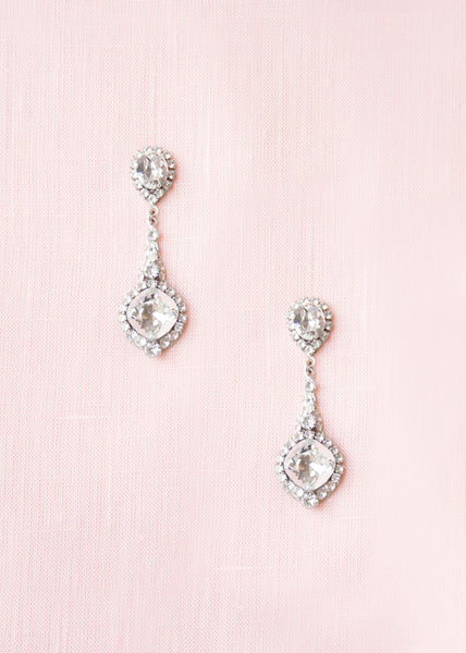 swarovski crystal vintage inspired drop bridal earrings haute bride EC240