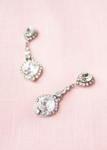 swarovski crystal vintage inspired drop bridal earrings haute bride