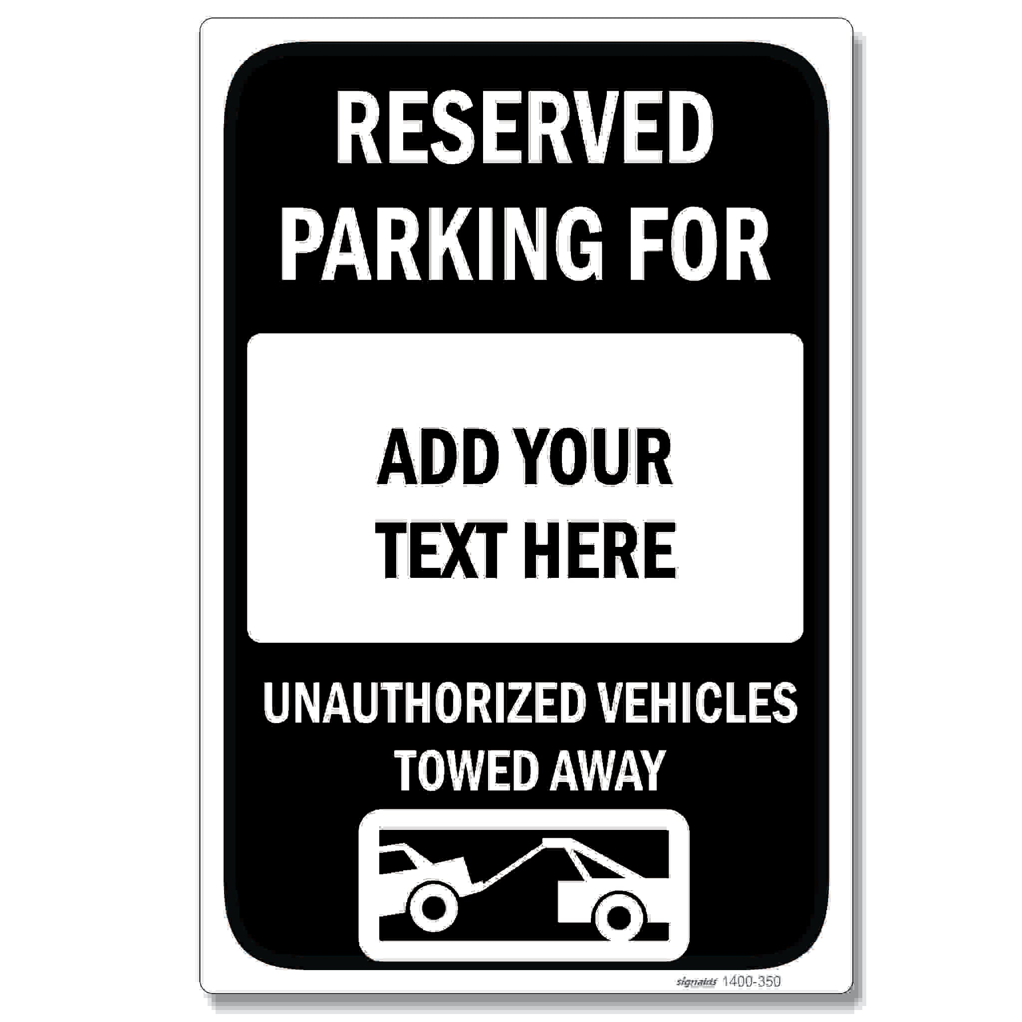 Reserved Parking Sign - Customizable