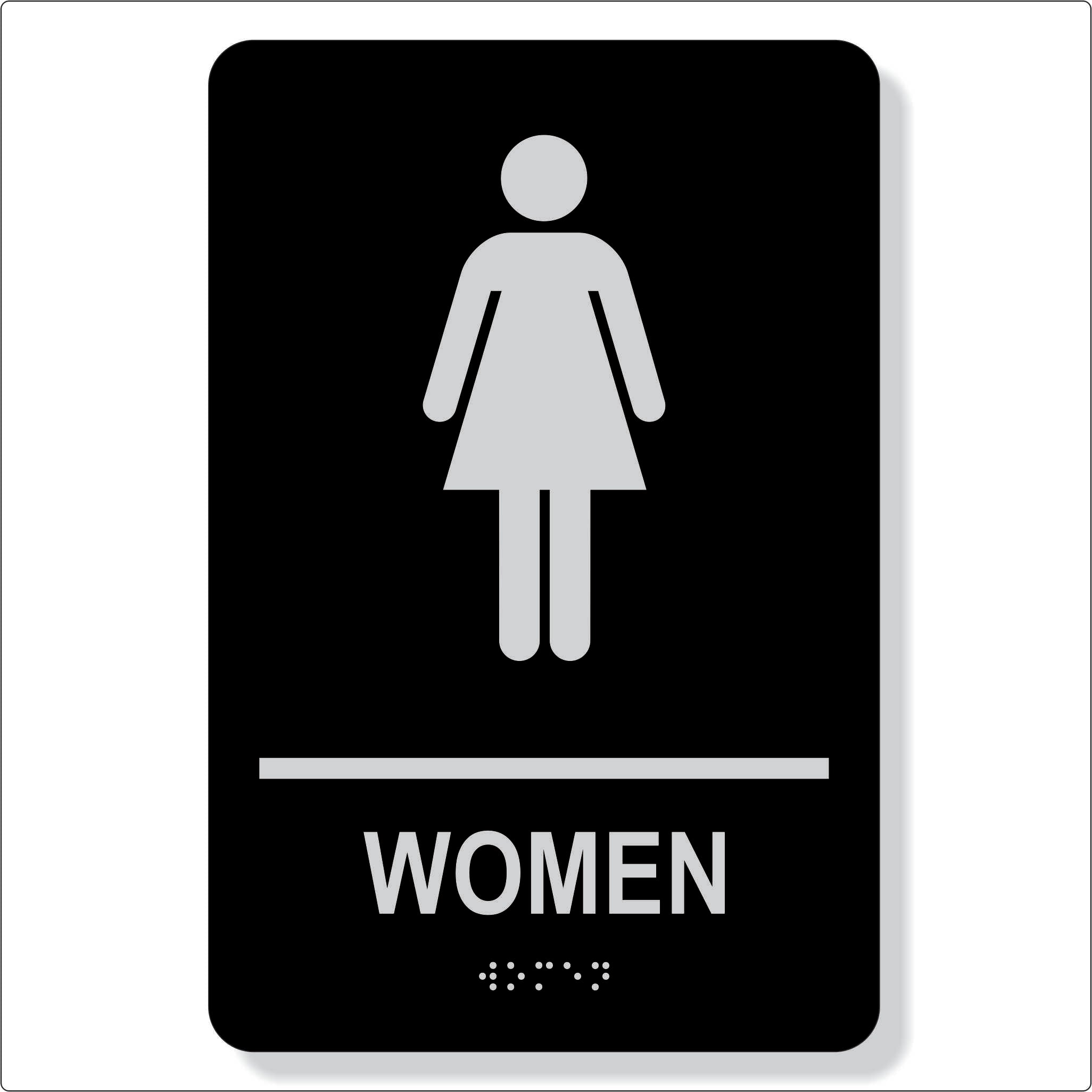 "TJX- 6"" x 9"" Women washroom sign- Non accessible facility"