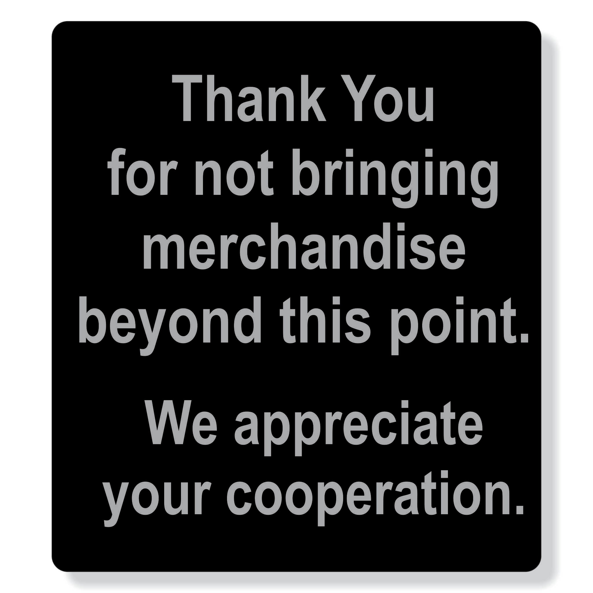 "TJX- 8"" x 9"" Thank you  merchandise sign"