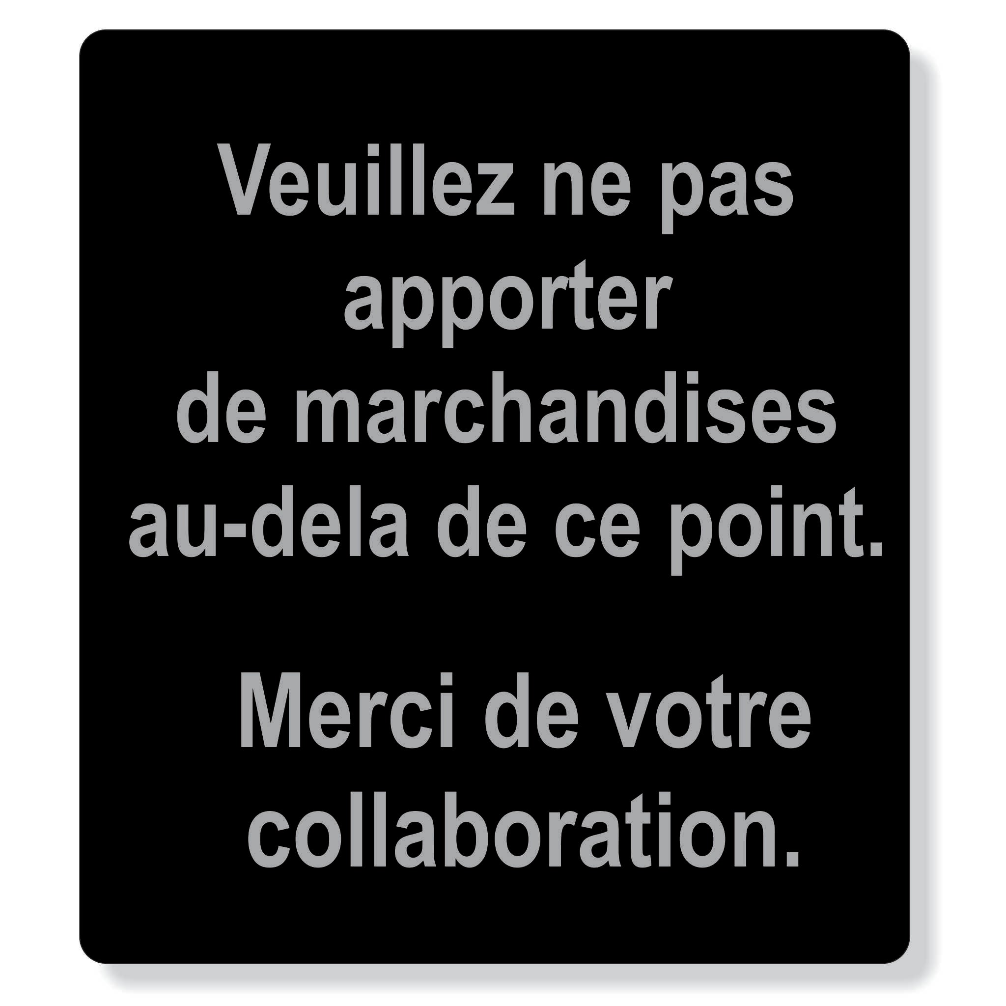 "TJX- Merci de votre collaboration - 8"" x 9"" sign"