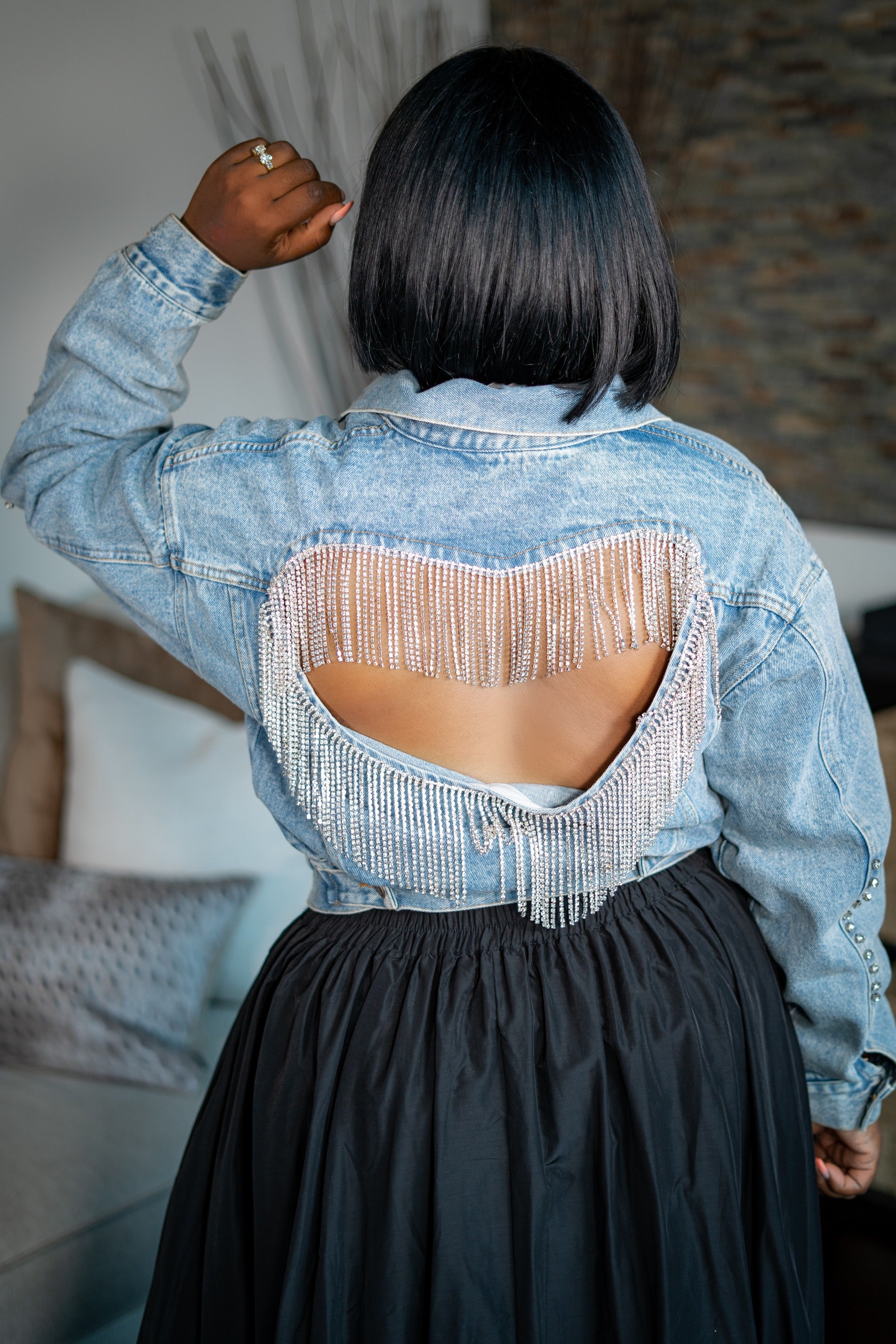 Pure Heart Bling Denim Jacket