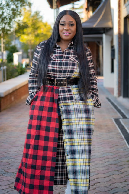 Highland Plaid Shirt Dress