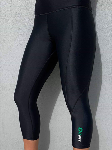 o2Fit Ladies Black High Waisted Full Length Compression Tights