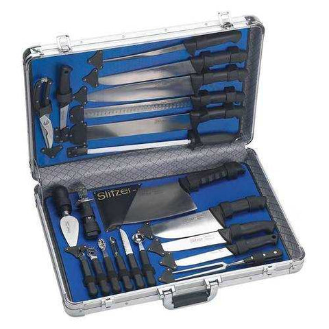 Slitzer Germany 22pc Professional Chef's Cutlery Set in Case, Black - New Blue Store