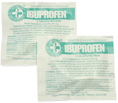 100 Ibuprofen Packs with 2 Tablets - New Blue Store