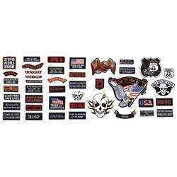 42pc Embroidered Motorcycle Patch Set - New Blue Store