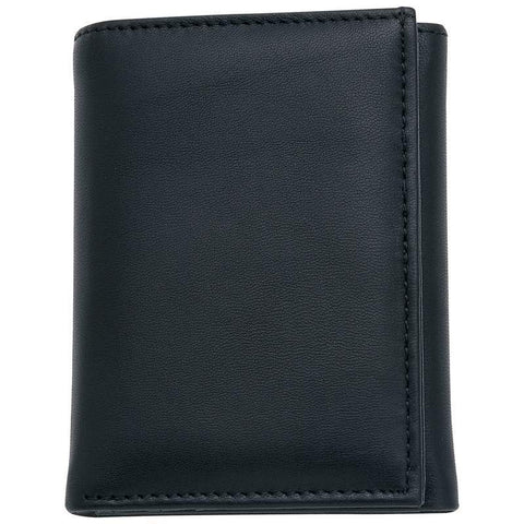 Men's Solid Genuine Leather Tri-Fold Wallet