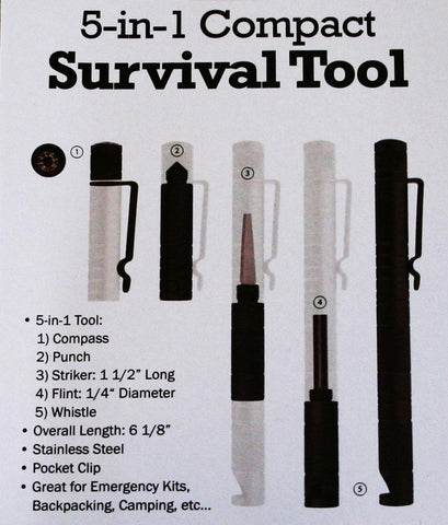 5 in 1 Compact Survival Tool - New Blue Store