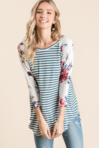 Sea Floral Stripes