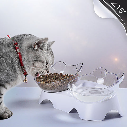 Plastic Double Pet Bowl For Cats