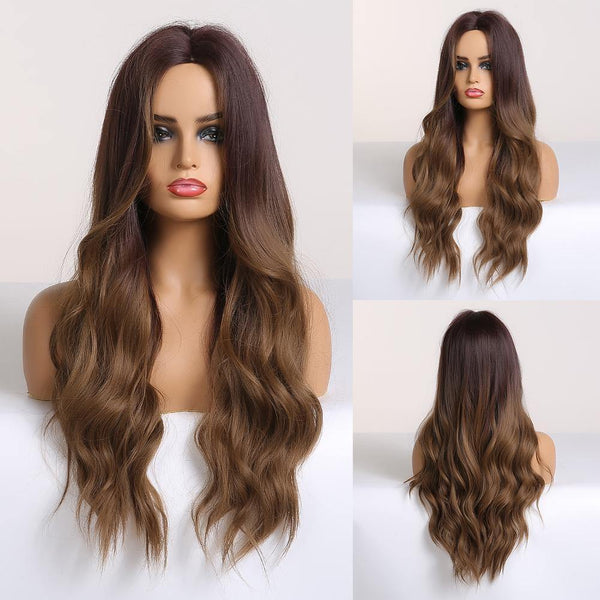 Long Wavy Brown Synthetic Hair Ombre Wig for Women