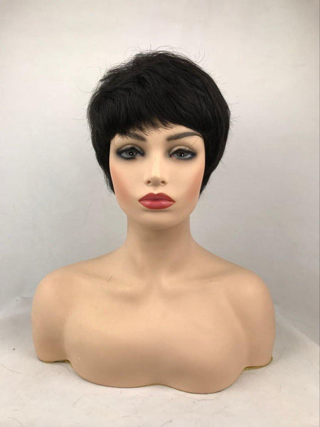 Short Black Layered Straight Synthetic Hair Wig With Bangs