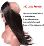 360 lace frontal  Brazilian Straight Hair Wig with body Hair 10-20 inch