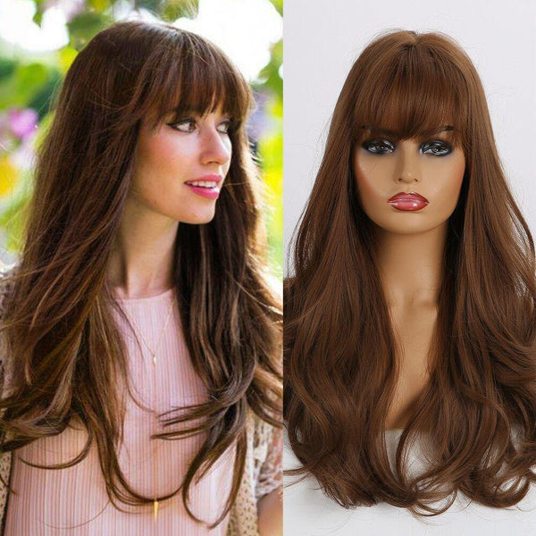 Light Brown Long Wavy Fashion Syntheic Hair Wig for Women