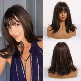 Shoulder Length Layered Straight Synthetic Hair Ombre Costume Wig