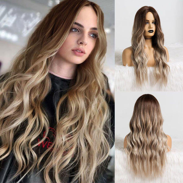 long wavy synthetic hair ombre wig for women middle part bangs