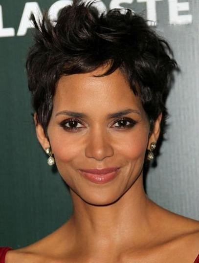 Black Wavy Cropped Halle Berry Synthetic Lace Front Wig