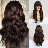 Dark Brown Long Wavy Synthetic Hair Costume wig for women with neat bangs
