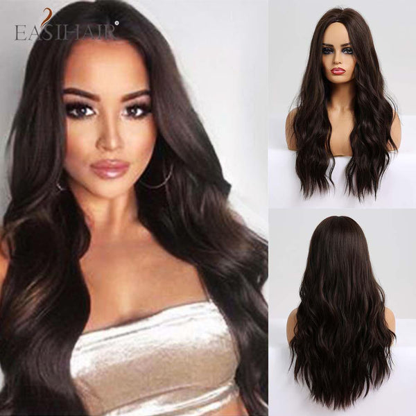 Bark Brown Long Wavy Synthetic Hair Wig for Women Middle Party Bangs