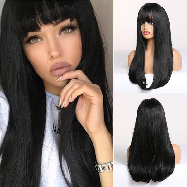 Shoulder length Black Straight Bob Synthetic Hair Wig for Women