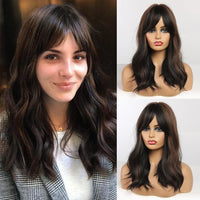 Shoulder length Dark Brown Wavy Synthetic Hair Wig with Bangs
