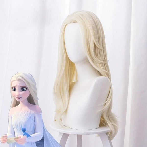 Long Blond Wavy Cosplay Wig for Frozen 2 Queen Elsa Styled Wig 80 cm