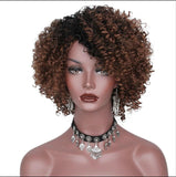 Ombre Short Brown Synthetic Hair Curly Wig for Black Women