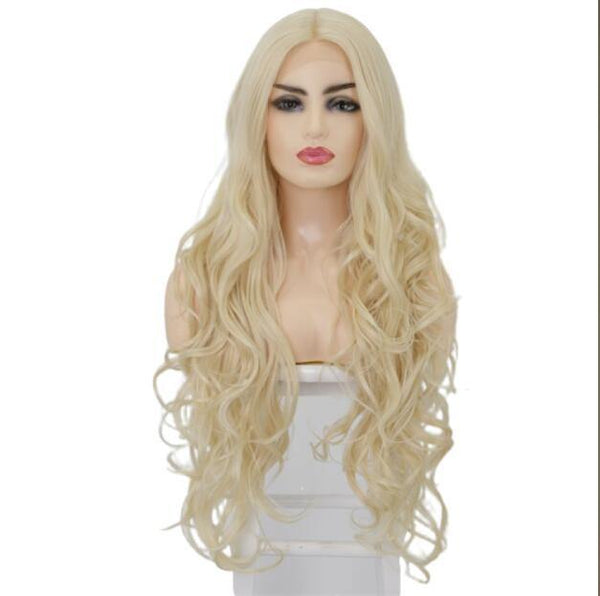 Synthetic Lace Front Curly Long Blonde Wig for Women