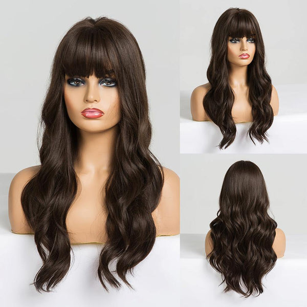 Dark Brown Long Wavy Synthetic Hair Costume wig for women