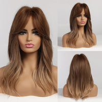Shoulder Length Layered Wavy Synthetic Hair Ombre Costume Wigs