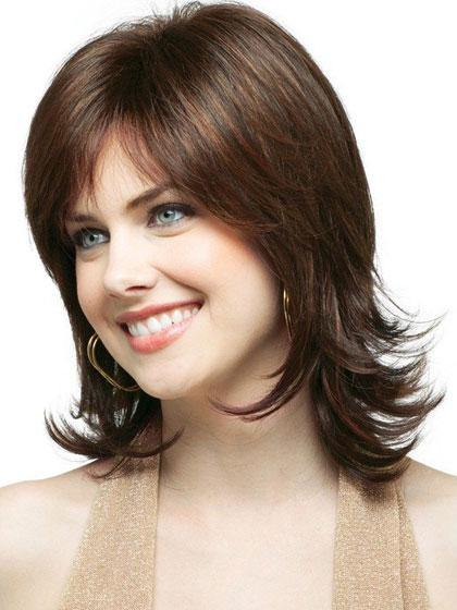 Brown Wavy Shoulder Length Capless Synthetic Hair Wigs with Bangs