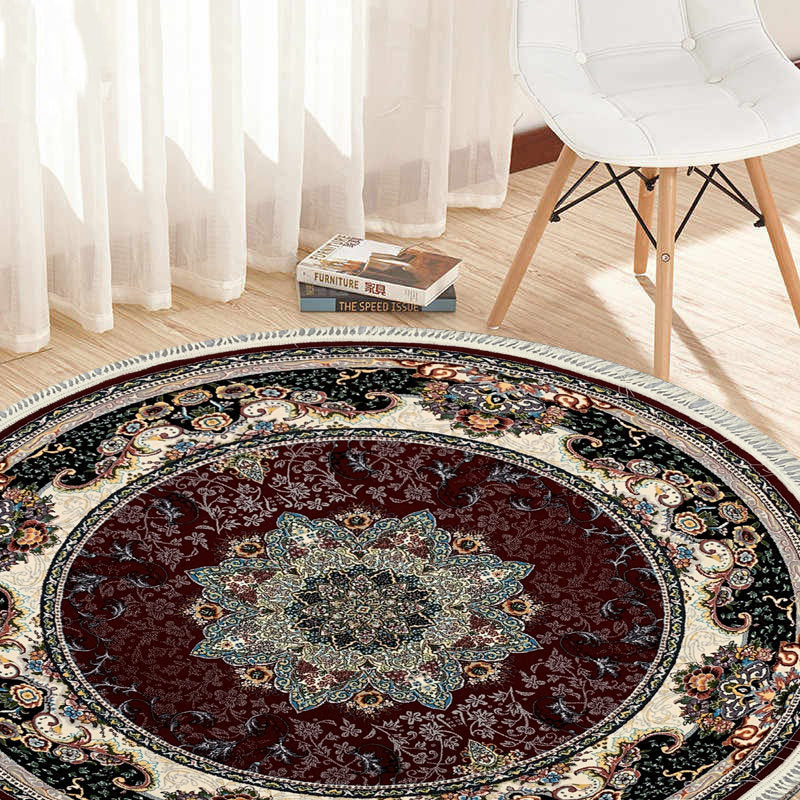 Hiva Red Contemporary Round Rug