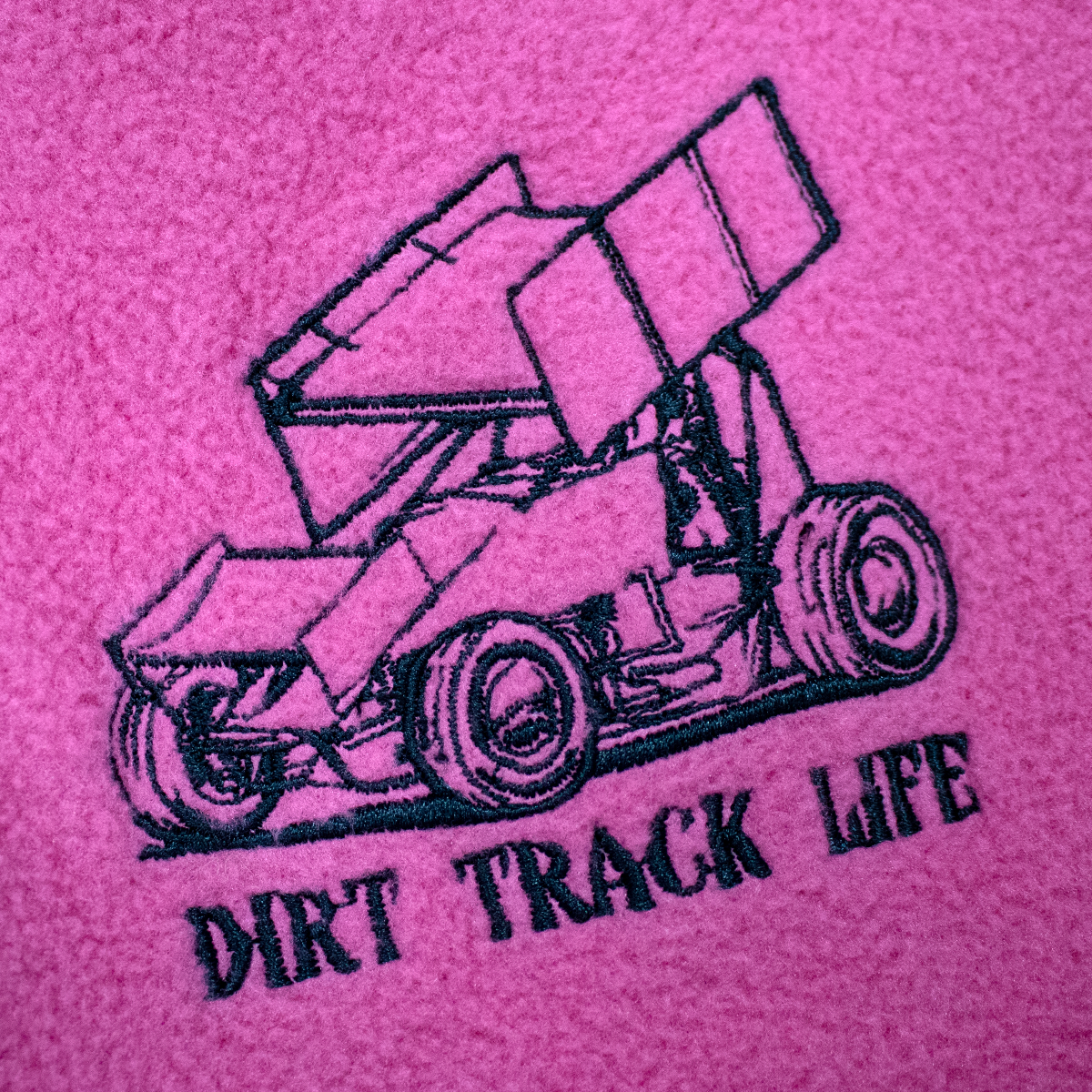 Dirt Track Life Embroidered Youth Fleece Jacket Black Or Pink Spri Fearless Race Wear