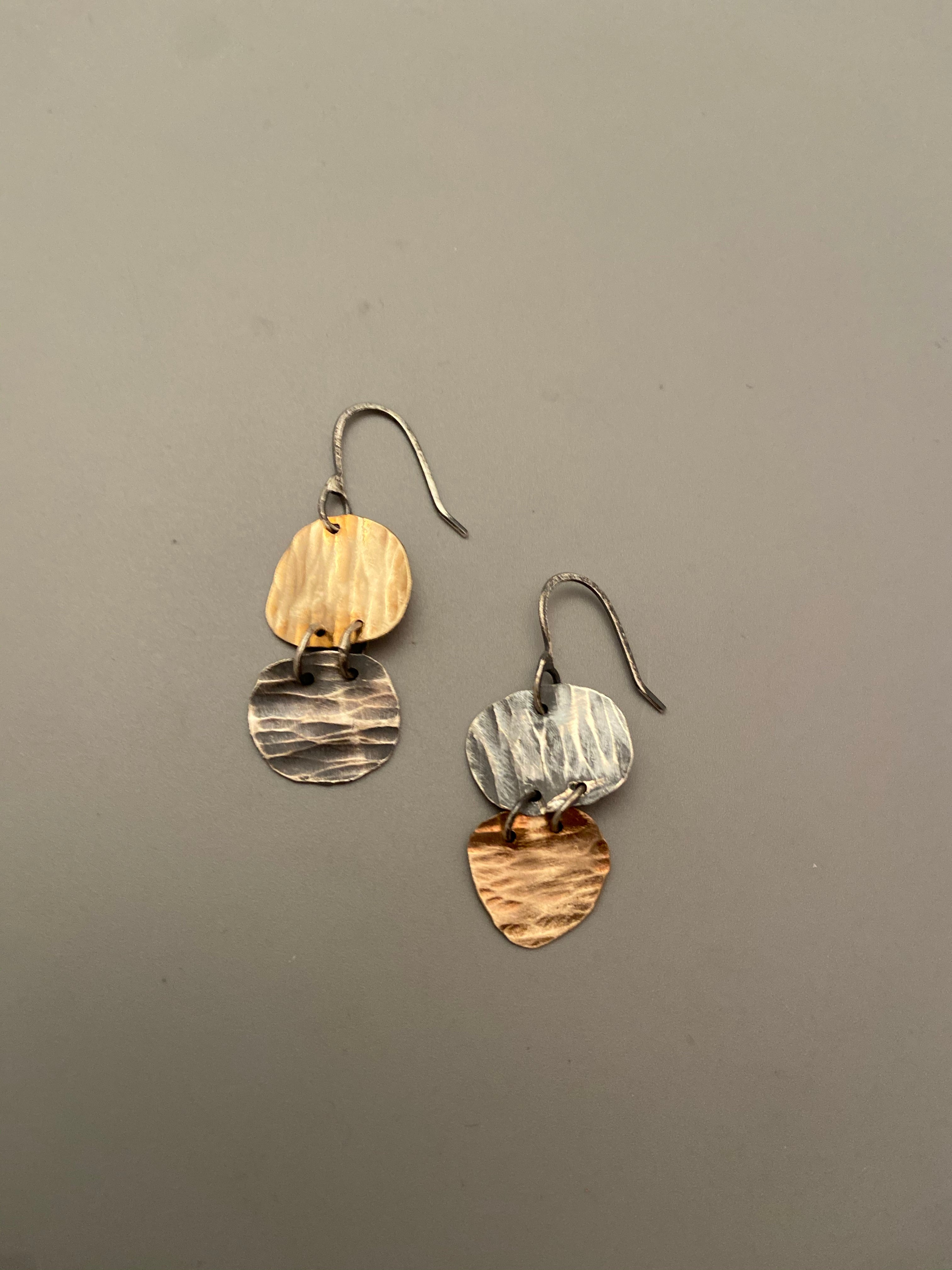 Hammered Sterling Silver Discs on Gold Filled Wire