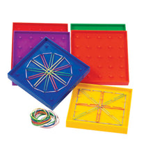 "Load image into Gallery viewer, Double Sided Rainbow 5"" Geoboards Set of 6"