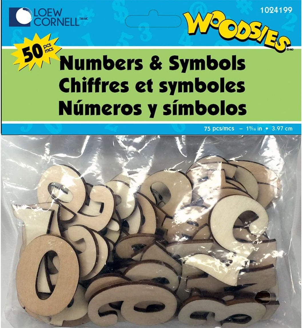 Wooden Numbers and Symbols