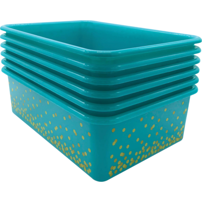 Teal Confetti Large Plastic Storage Bin- Single Bin