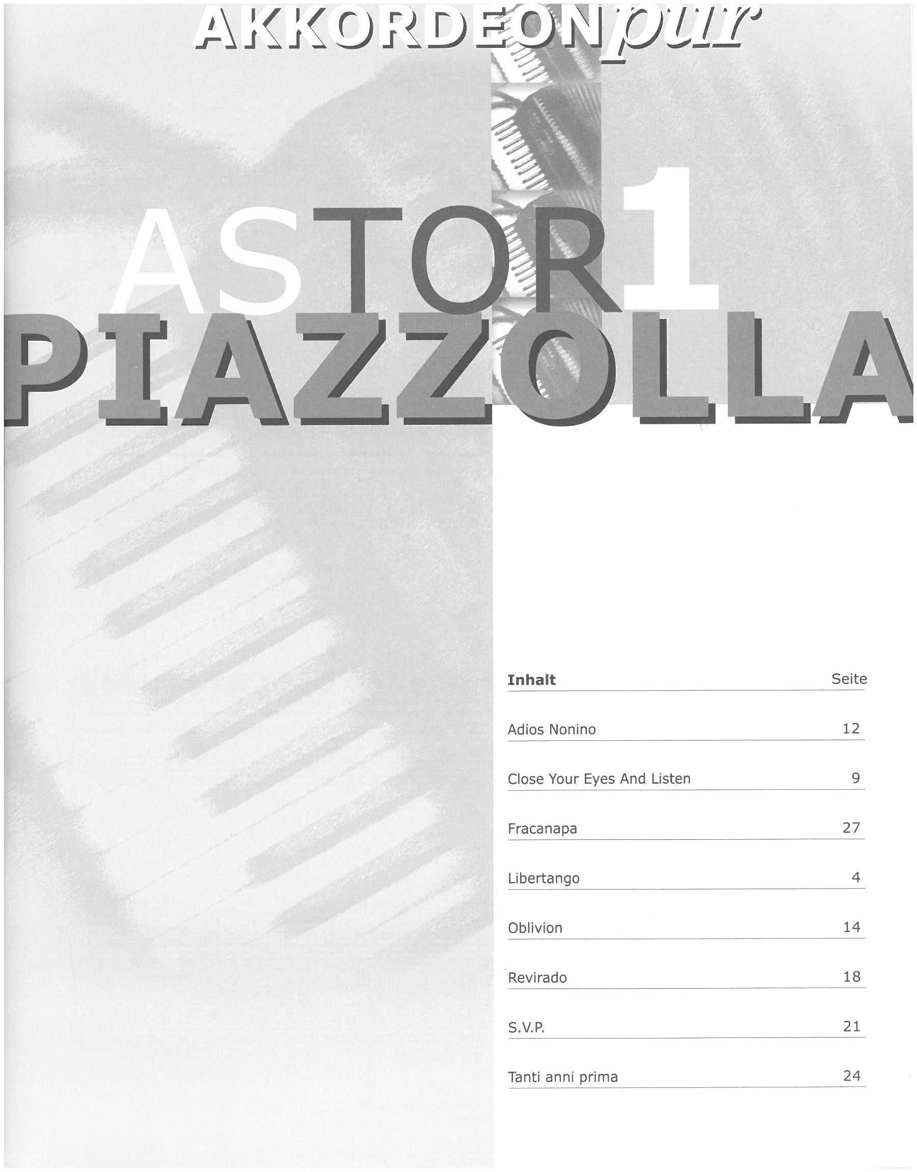 Astor Piazzolla Accordion Song Titles