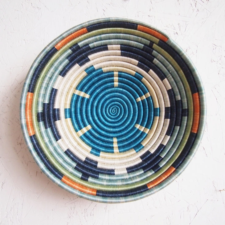 Shop Stacy Garcia_Accessories_Bowls_Blue Multi Patterned Woven Basket