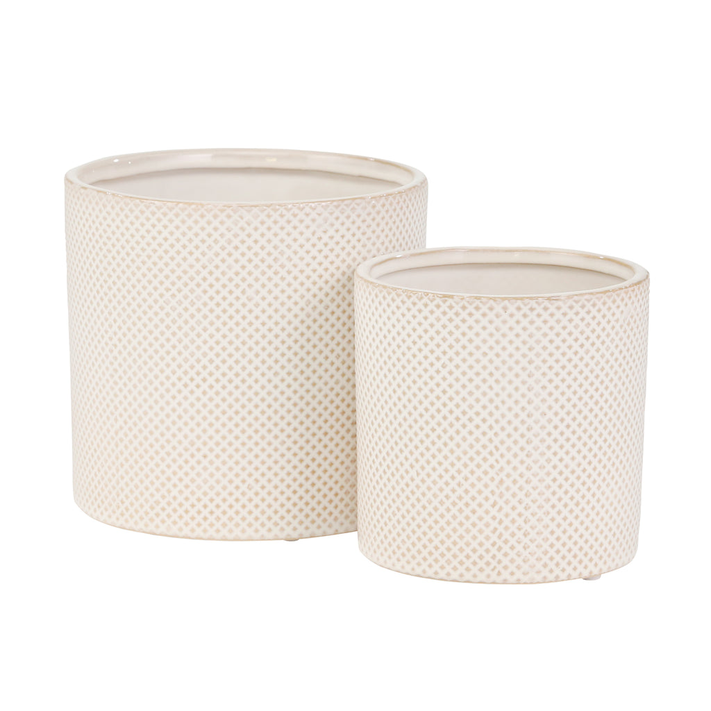Shop Stacy Garcia, Beige Diamond Patterned Planters Set of 2